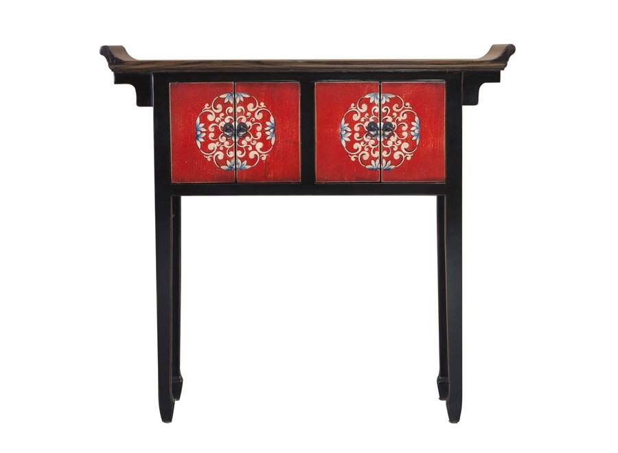 Chinese Console Table Red Black Handpainted Tibetan Style W102xD30xH95cm