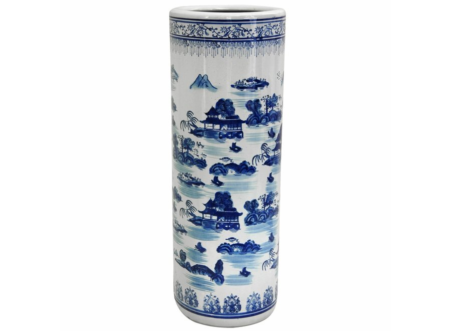 Fine Asianliving Chinesischer Schirmhalter Schirmständer Porzellan Blau und Weiß D25xH50cm