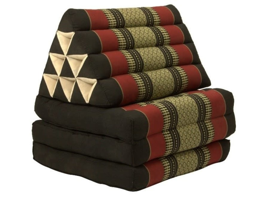 Thai Kissen mit Dreieck-Kissen 3 Auflagen Falt-Matratze Boden-Liege-Matte Sitzkissen Thaimatte Kapok Rot
