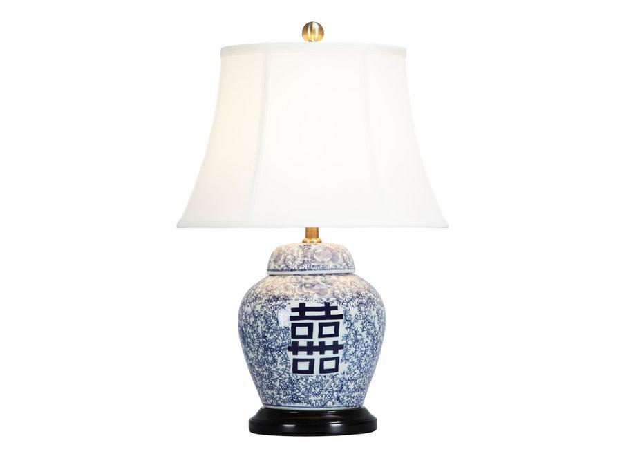 Chinesische Tischlampe Porzellan mit Schirm Doppel Glück