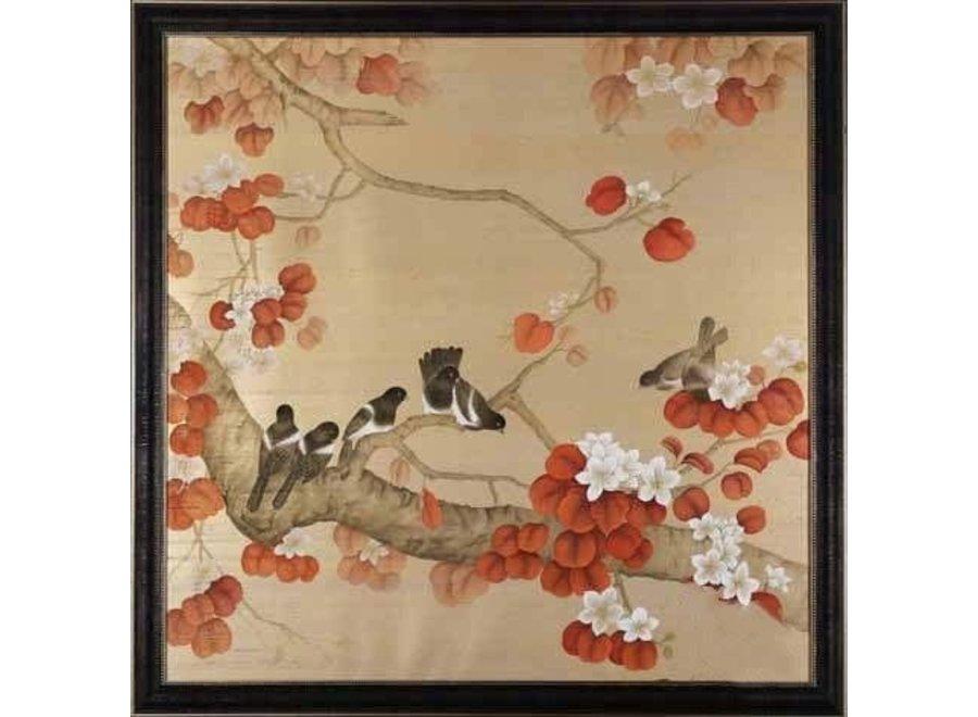 Fine Asianliving Oriental Wall Art Painted Birds 100% Pure Silk 900x900mm