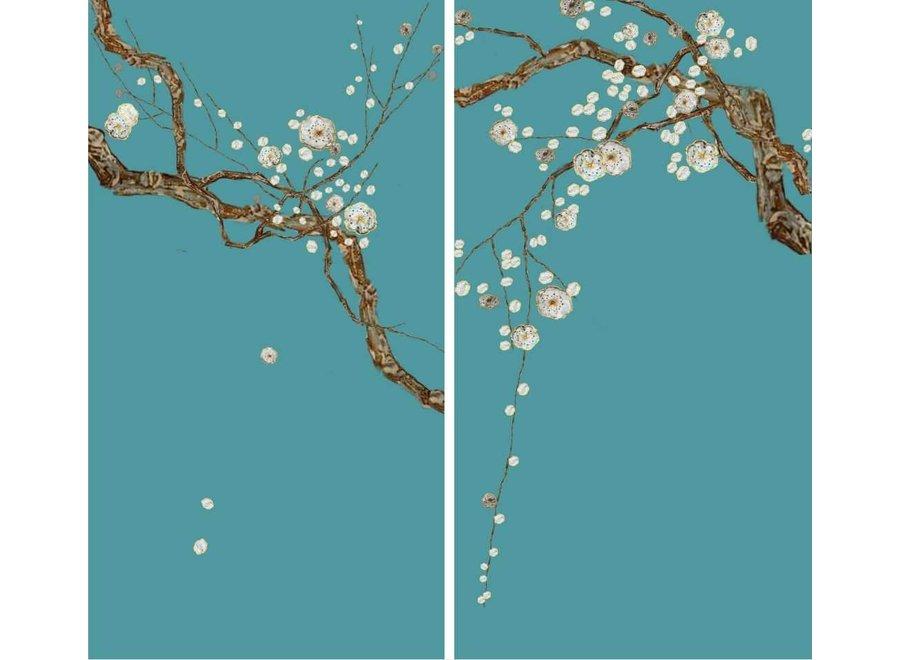 Oriental Wall Art Set/2 Sakura Mother of Pearl on 100% Pure Silk 600x1100mm