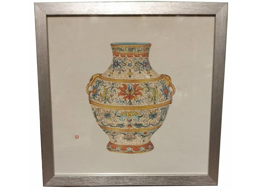 Fine Asianliving Chinese Painting with Frame Chinese Porcelain Vase W33xD3xH33cm