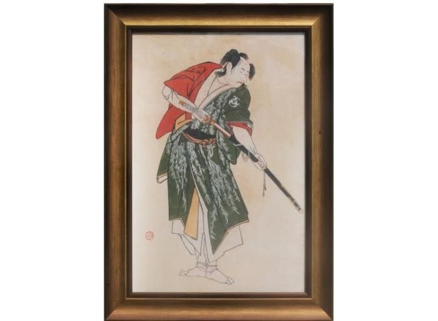 Japanese Painting with Frame Warrior with Catana Sword W36.5xD3xH58cm