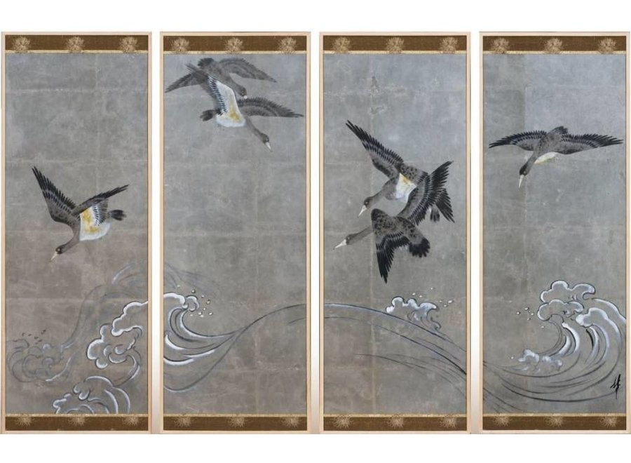 Fine Asianliving Chinese Painting Birds Silver Leaf Set/4 W200xD4xH140mm