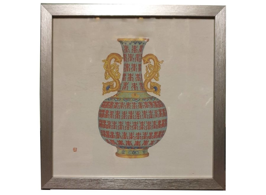 Fine Asianliving Chinese Painting with Frame Chinese Porcelain Vase Dragons W35xD3xH35cm