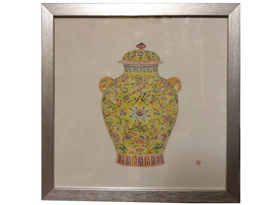 Chinese Painting with Frame Chinese Porcelain Vase Yellow W35xD3xH35cm