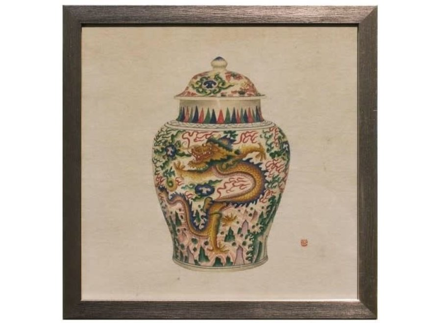 Fine Asianliving Chinese Painting with Frame Chinese Porcelain Vase Dragon W35xD3xH35cm