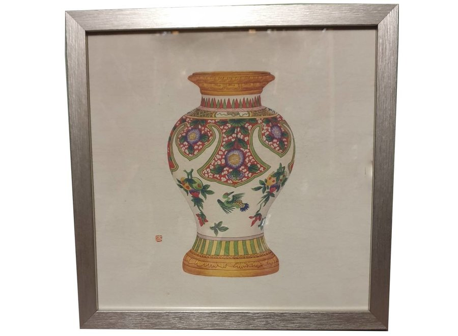 Fine Asianliving Chinese Painting with Frame Chinese Porcelain Vase Fruit W35xD3xH35cm