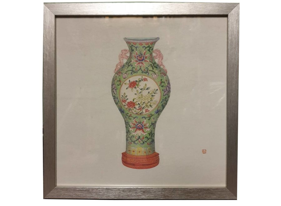 Fine Asianliving Chinese Painting with Frame Chinese Porcelain Vase Flowers W35xD3xH35cm