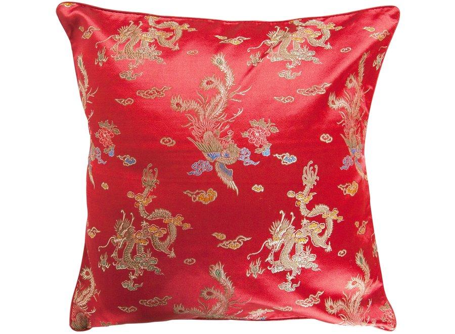 Fine Asianliving Chinesisches Kissenbezug Rot Drache 40x40cm ohne Füllung