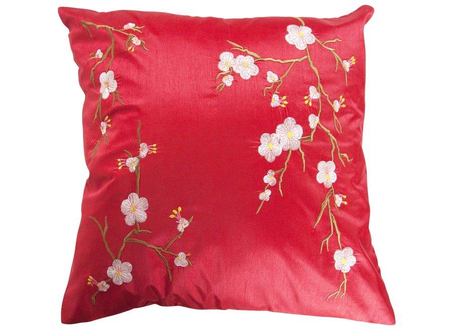 Fine Asianliving Chinesisches Kissenbezug Rot Kirschblüten 40x40cm ohne Füllung