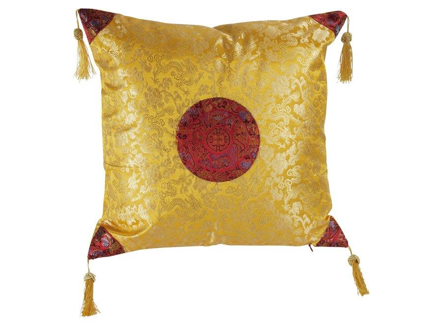 Fine Asianliving Chinesisches Kissen Gelbgold Drache 40x40cm