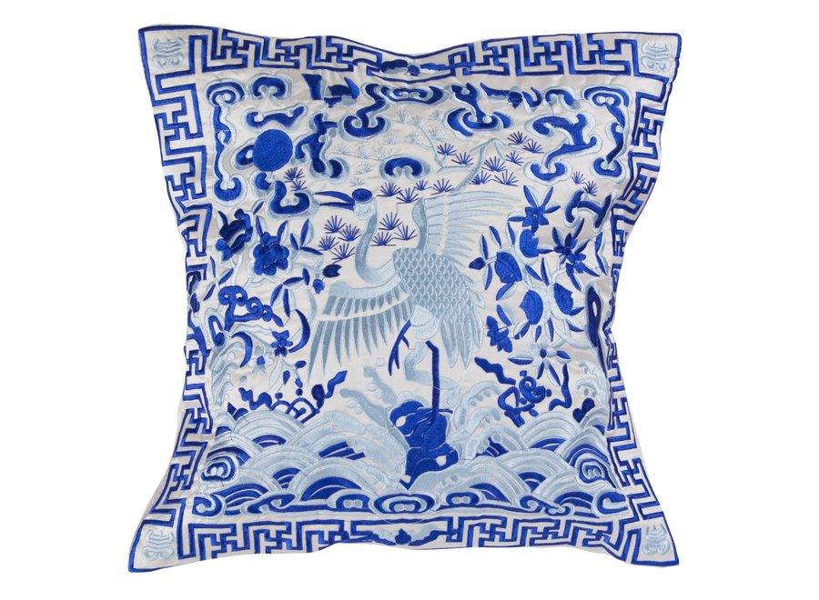 Fine Asianliving Chinesisches Kissenbezug Handbestickt Weiß Kranich 40x40cm ohne Füllung