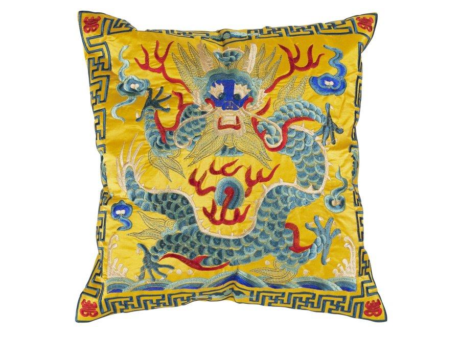 Fine Asianliving Chinesisches Kissenbezug Handbestickt Gelb Drache 40x40cm ohne Füllung