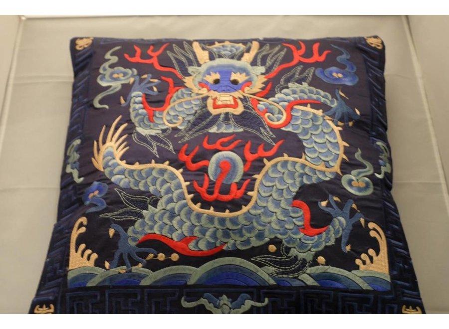 Fine Asianliving Chinesisches Kissenbezug Handbestickt Marineblau Drachen 40x40cm ohne Füllung