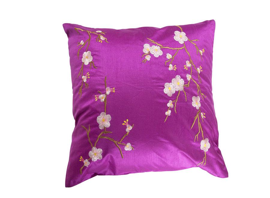 Fine Asianliving Chinesisches Kissenbezug Rosa Kirschblüten 40x40cm ohne Füllung