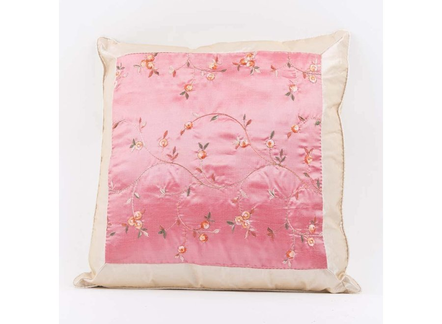 Chinesisches Kissenbezug Seide Rosa Blumen 40x40cm ohne Füllung