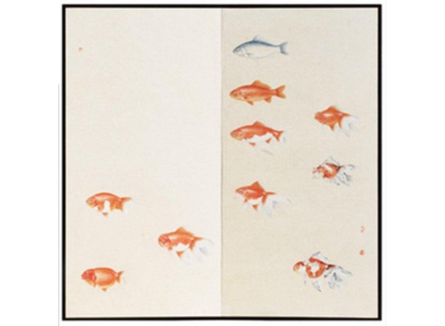 Orientalischer Paravent Raumteiler Trennwand 2-teilig Orange Fische
