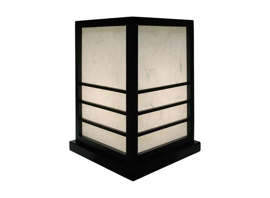 Japanische Lampe Holz un Shoji Reispapier Schwarz - Miyazaki B20xT20xH28cm