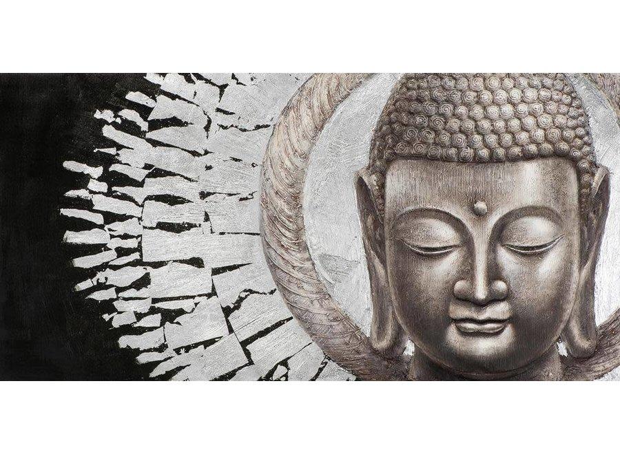 Painting Buddha Face Black Background Landscape Metal Foil 3D