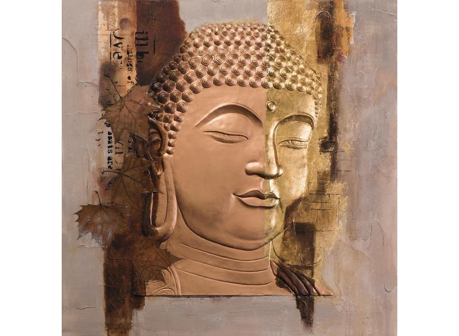 Fine Asianliving Painting Buddha Face Gold Metal Foil 3D