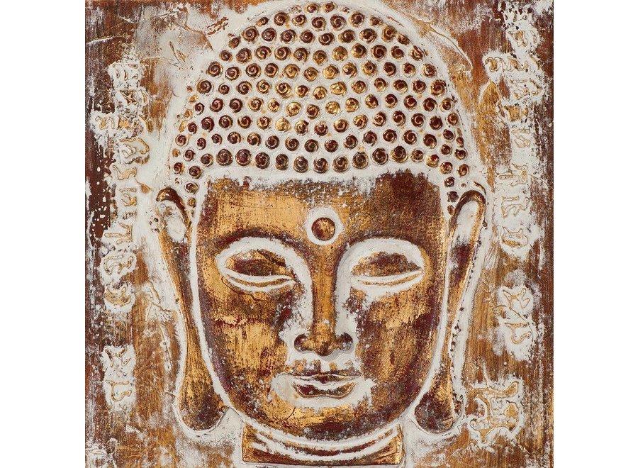 Painting Buddha Face Metal Foil 3D