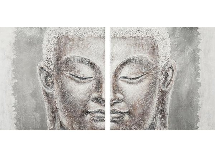 Fine Asianliving Buddha Painting Wall decoration 3D Metal Foil Two-part