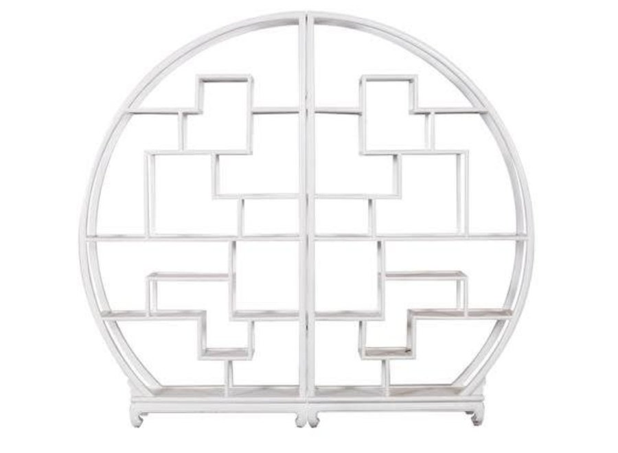 Fine Asianliving Chinese Bookcase Round Open Cabinet White L176xH192cm