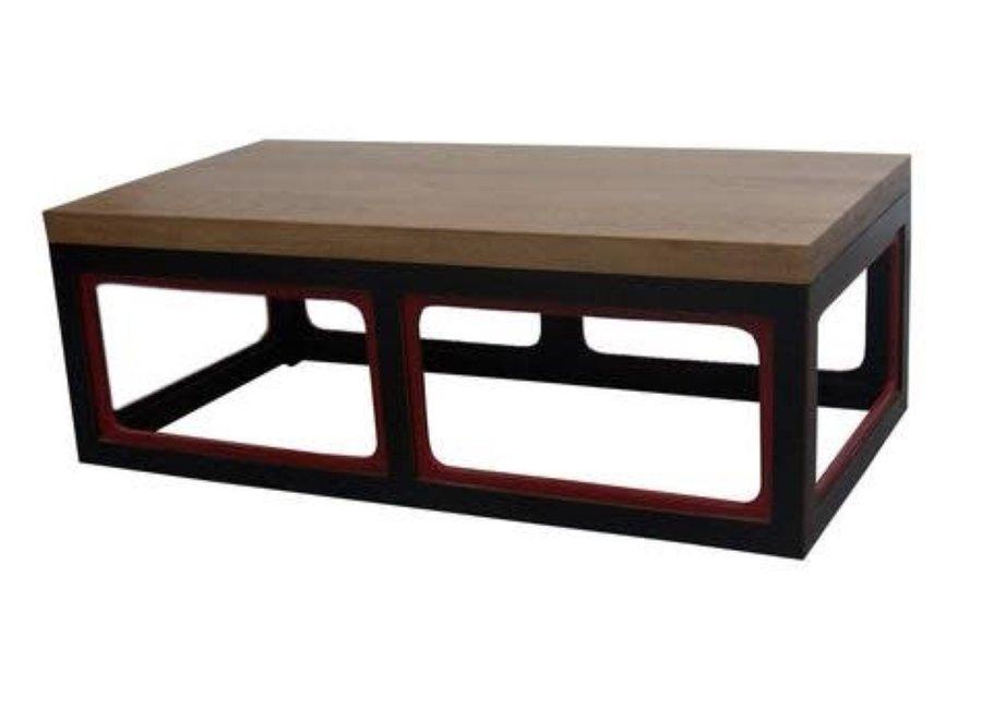 Fine Asianliving Chinesischer Couchtisch Holz Schwarz und Weinrot B130xT65xH45cm