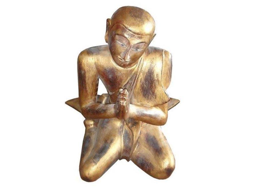 Fine Asianliving Thai Wooden Praying Monk