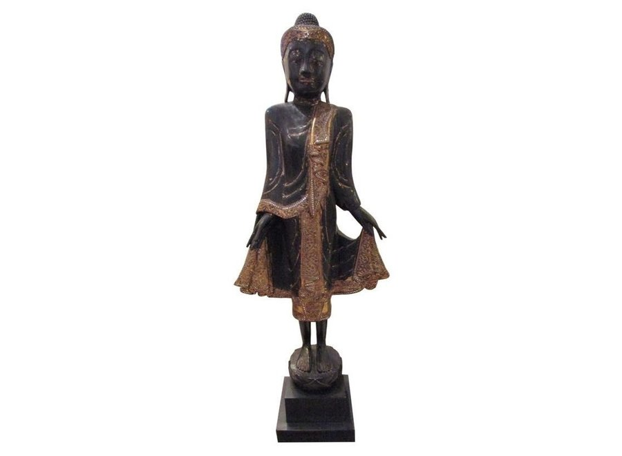 Fine Asianliving Brown Buddha On Stand White Mirror-Like Details
