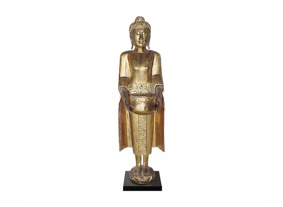 Fine Asianliving Thai Buddha On Stand Gold