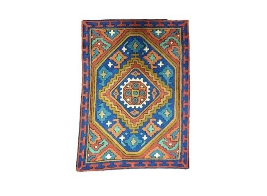Large Cushion Nepal abstracte Flowers Red, Green en Blue