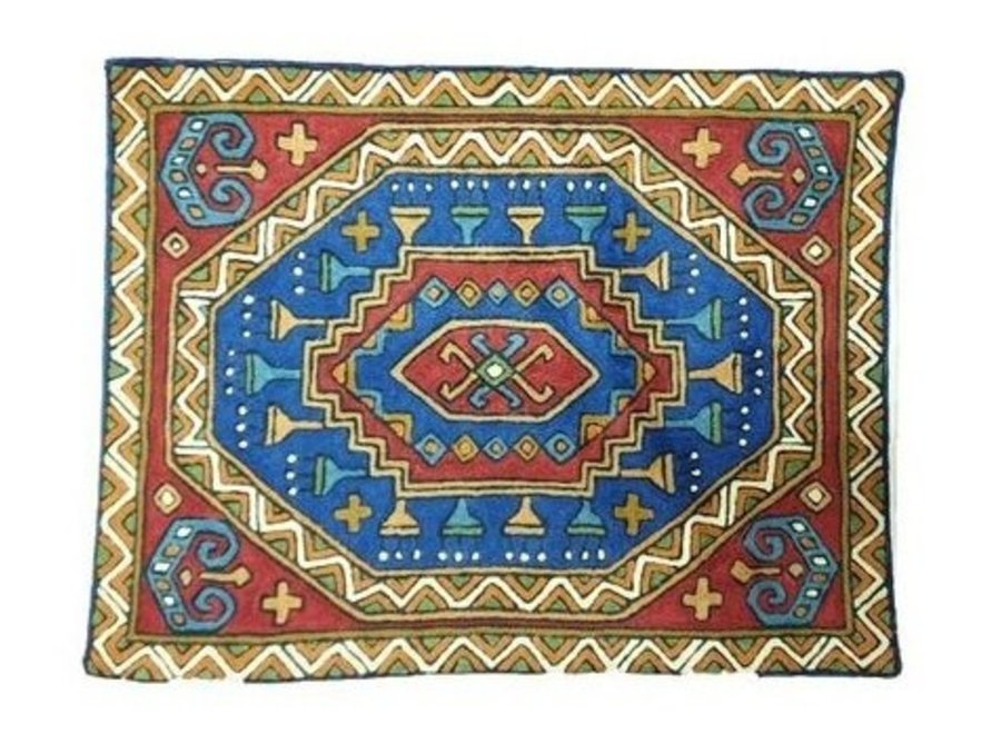 Fine Asianliving Large Cushion Nepal abstracte Pattern Blue Red binnenkant