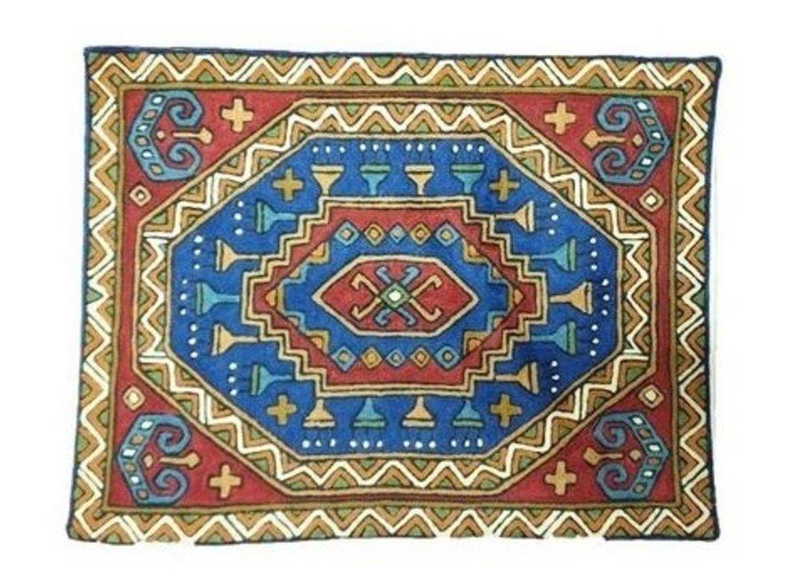 Large Cushion Nepal abstracte Pattern Blue Red binnenkant