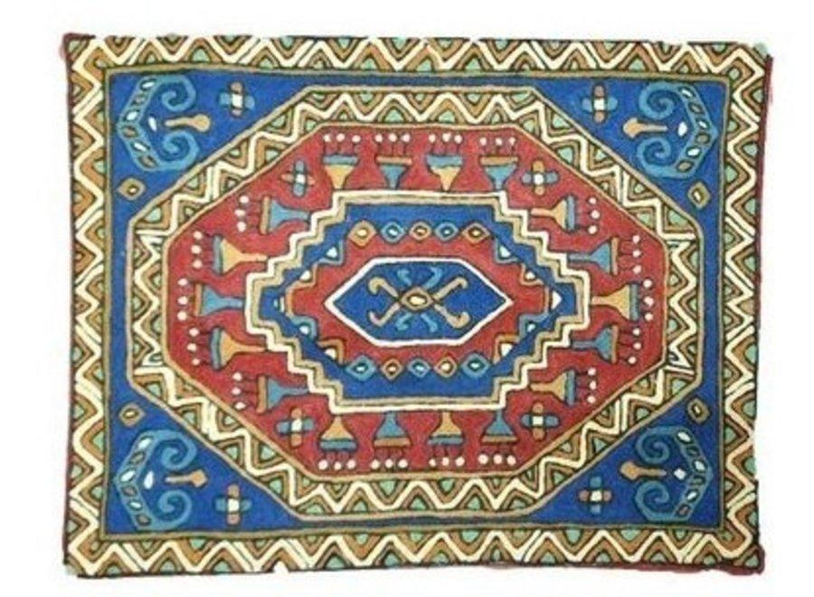Fine Asianliving Large Cushion Nepal abstracte Pattern Blue Bluee binnenkant