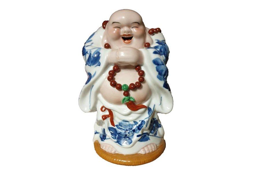 Chinesische Lachender Buddha Porzellan Handgemachte  Skulptur Statuen Glück Keramik