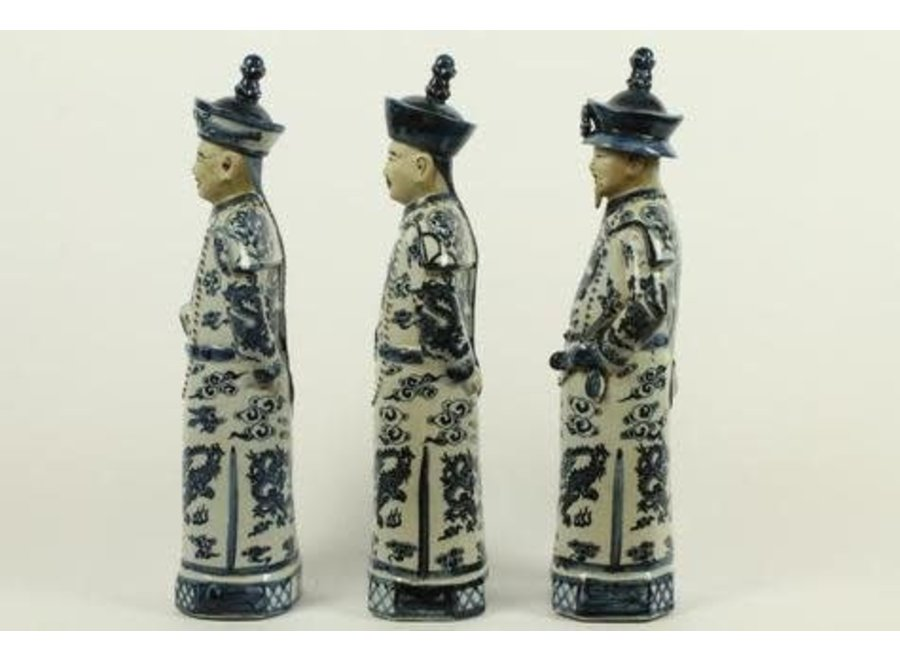 Fine Asianliving Chinese Emperor Porcelain Figurine Three Generations Qing Dynasty Statues Handmade Set/3