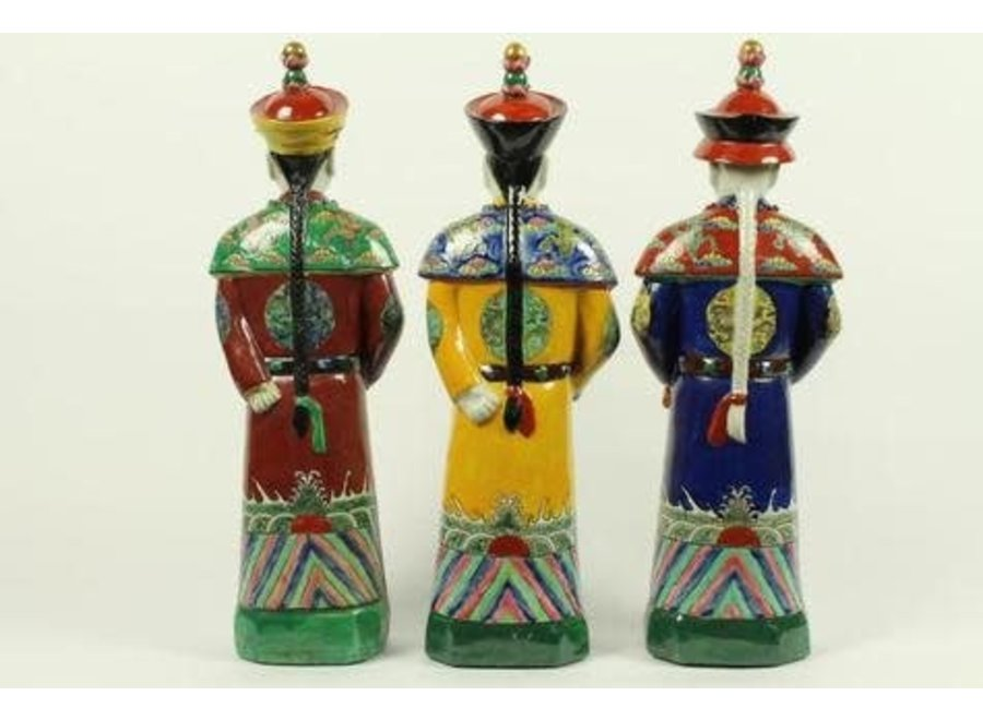 Fine Asianliving Chinese Emperor Porcelain Figurine Three Generations Qing Dynasty Statues Set/3