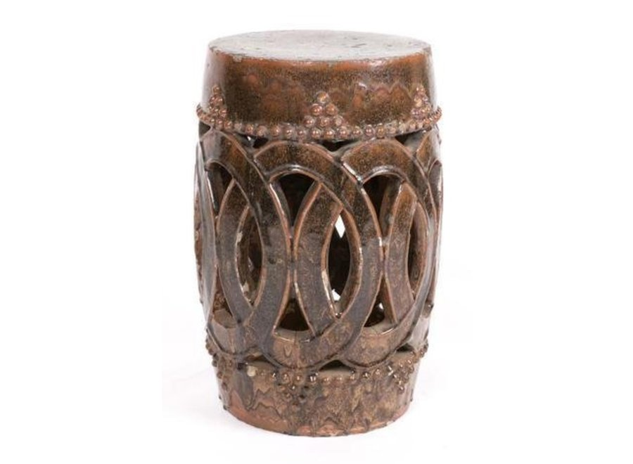 Fine Asianliving Antiker Chinesischer Hocker Porzellan Zimt