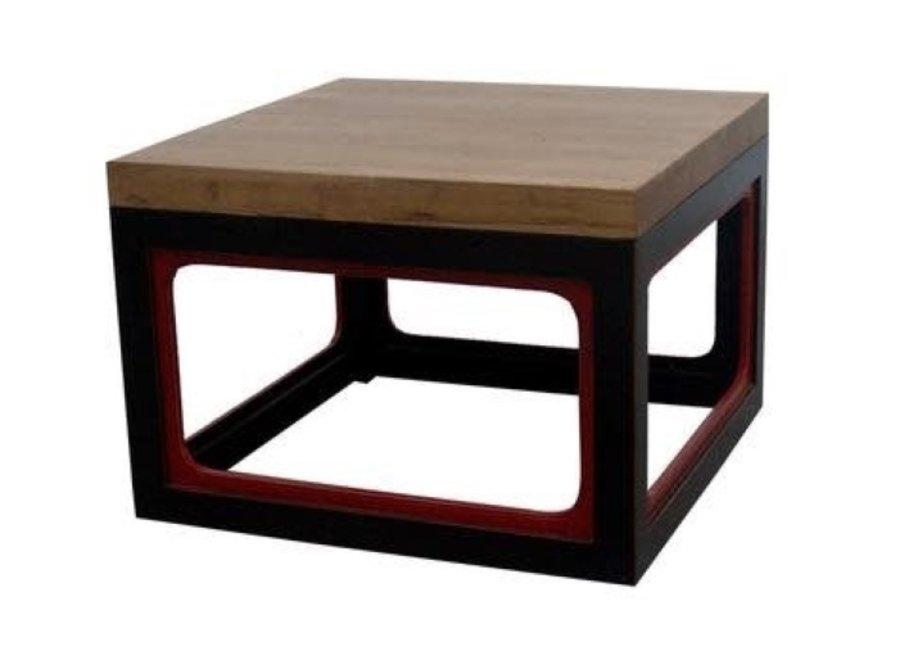 Chinesischer Couchtisch Modern Massivholz Schwarz Rot B65xT65xH45cm