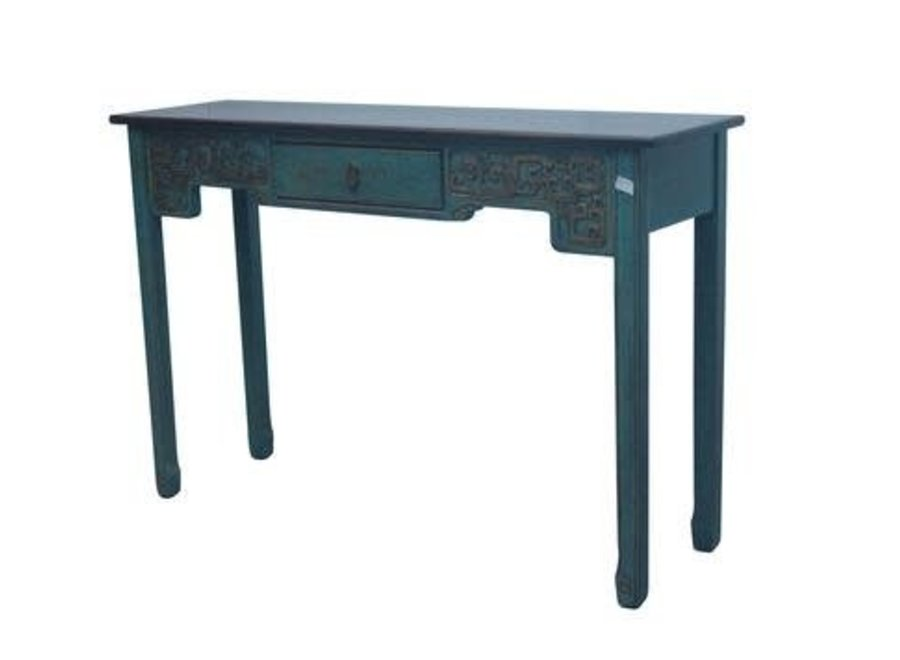 Fine Asianliving Chinese Sidetable Blue with Carvings W129xD37cmxH85cm
