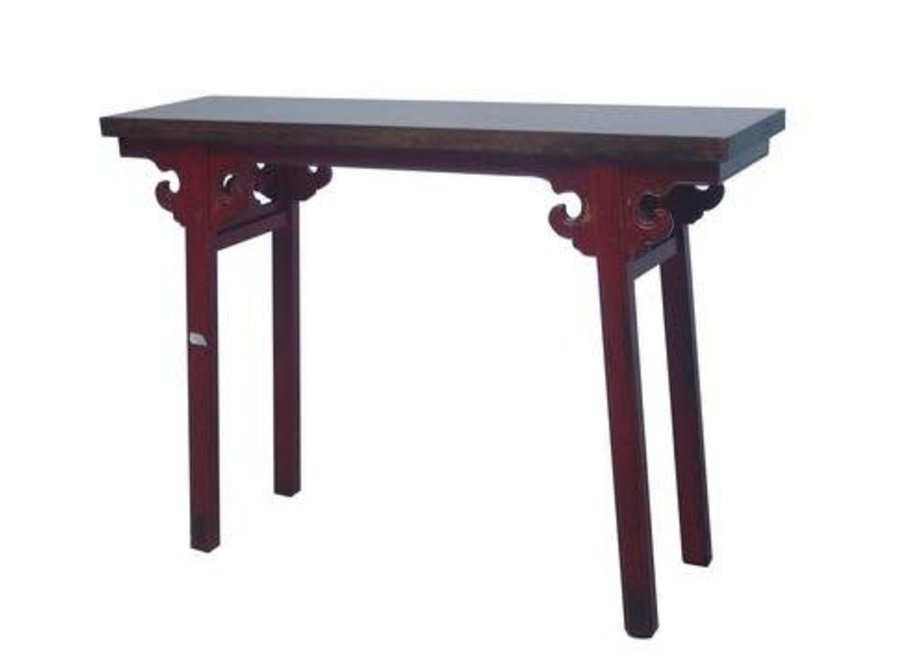 Chinese Sidetable Red with Hand Carved Details