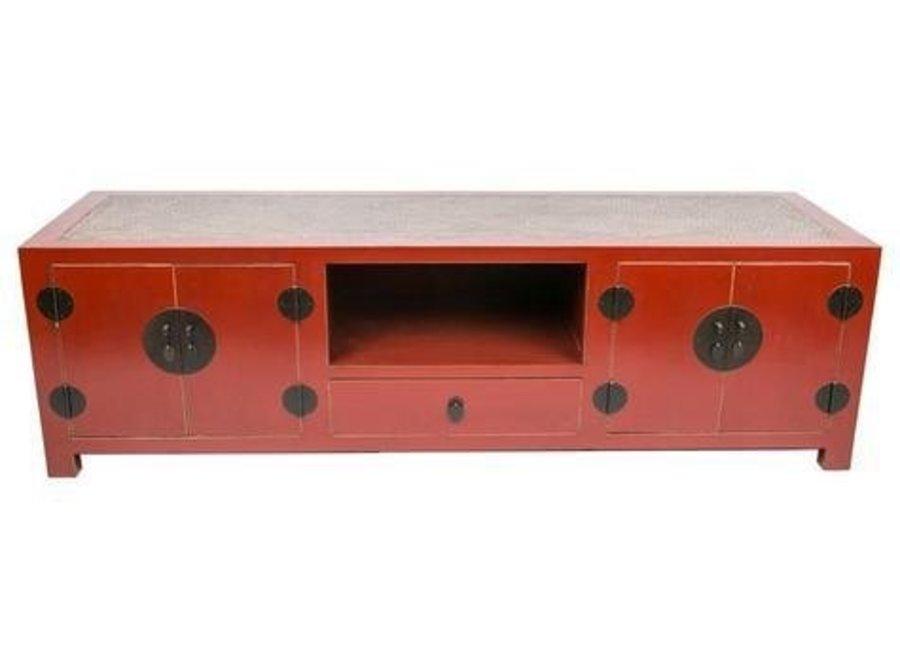 Fine Asianliving Chinesisches TV Lowboard Schrank Handgeflochtener Bambus Rot B190xT56xH56cm