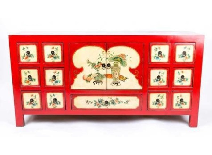 Fine Asianliving Chinesisches Sideboard Kommode Handbemalte Blumen Rot B80xT45xH157cm