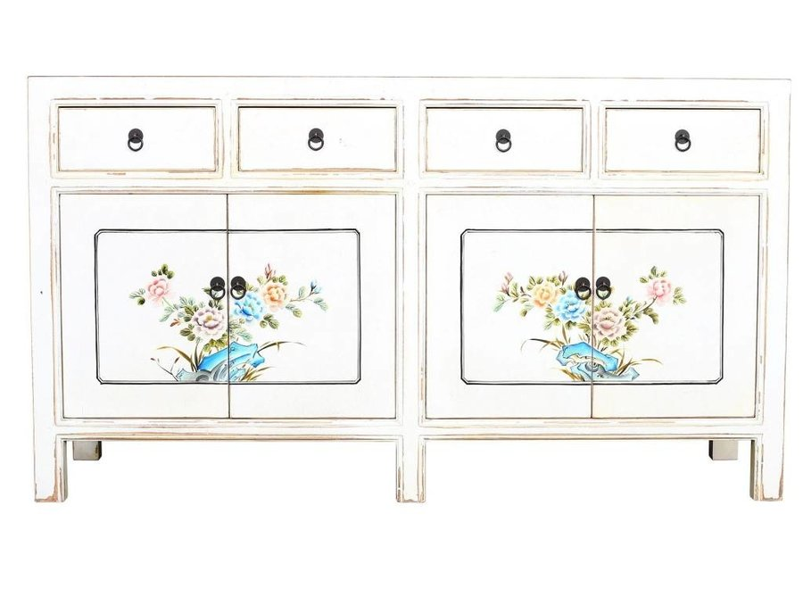Fine Asianliving Chinese Sideboard White Handpainted Flowers W154xD45xH87cm