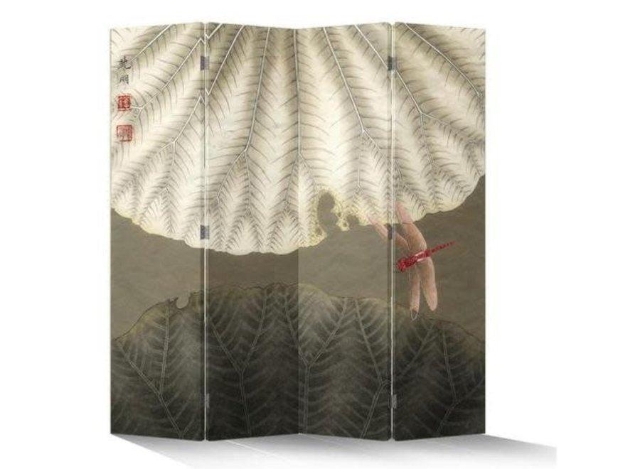 Chinesischer Paravent Raumteiler B160xH180cm 4-teilig Rote Libelle Vintage