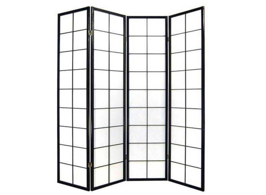 Japanische Paravent Raumteiler Trennwand B180xH180cm 4-teilig Shoji Reispapier Schwarz