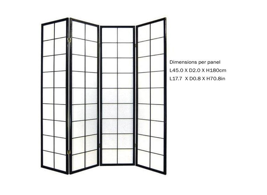 Fine Asianliving Japanische Paravent Raumteiler Trennwand B180xH180cm 4-teilig Shoji Reispapier Schwarz
